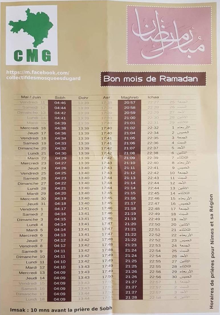 Horaire de ramadan nimes ouest mosquee essalema